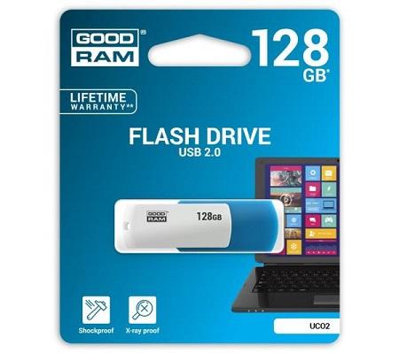 Pendrive Goodram 128GB USB 2.0, kolor niebiesko-biały.